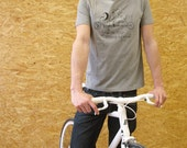 Bike Shirt Men's - Faitrade Organic cotton - Melange Grey Tshirt S, M, L, XL  -  Life is like riding a bicycle