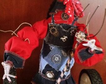 OOAK  Primitive Polymer Clay  Farm Chic Steam Punk Folk Art Doll On Vintage Wheels With Pitchfork