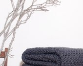 Ready to Ship  Beautiful and Luxuriously Handcrafted CROCHET Blanket Throw CHARCOAL Grey