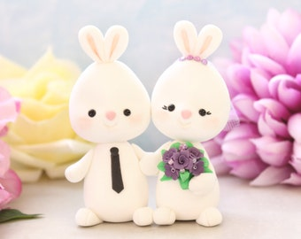 Custom Bunny wedding cake toppers - holding hands/paws - purple cute funny pets figurines bride groom animal tiara veil rabbit elegant white