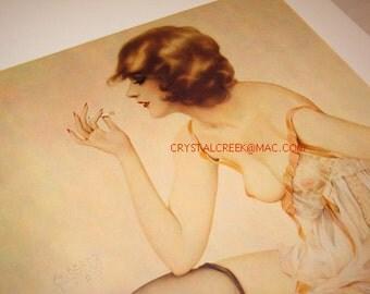 "Vintage Alberto Vargas Lithograph Print "" Smoke Dreams"" Ziegfeld Girl Ltd. Edition Lithograph Print /Illustration Art/ Vargas Art Deco Print"