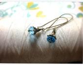 HALF PRICE French Maid - blue swarovski earrings / blue earrings / dangle earrings / sparkly blue earring / blue crystal earring /