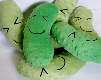 Stuffed Dill Pickle, Plush, Minky, Pickle Toy, Christmas Pickle