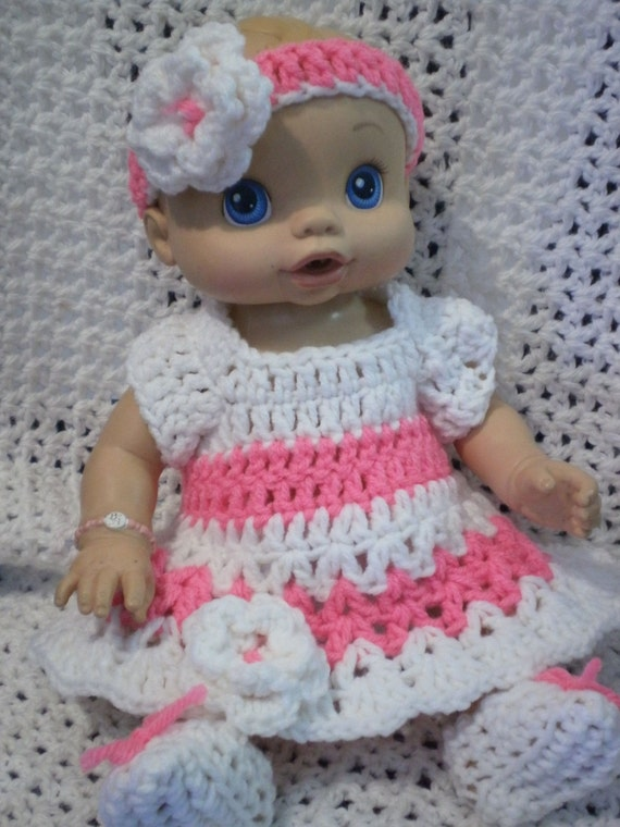 Clothes For Baby Alive Wet and Wiggles Doll White Pink Dress
