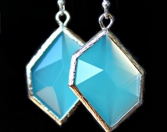 Asymmetrical Turquoise Blue Faceted Crystal Framed in Silver on Silver French Earrings