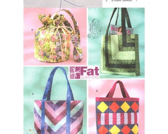 Womens Bags & Purses Pattern Butterick 4248 Reusable Shopping Bag Fat Quarters Bags Tote Four Purse Sewing Patterns DIY UNCUT