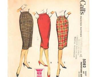1950s Sheath Skirt Sewing Pattern McCalls 5082 Proportioned Wiggle Skirt Inverted Pleat Waist 28