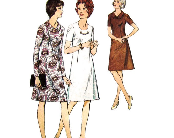 1970s Dress Pattern Style 4116 Collar Chain Trim Short or Long Sleeve Bust 44