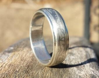 6mm Mokume Gane Ring in Palladium White Gold and Sterling Silver