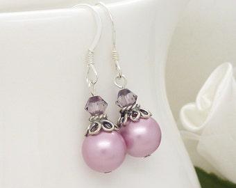 Vintage style pink pearl drop earrings, Dusty rose pink wedding bridesmaid earrings, New Zealand bridesmaid jewelry