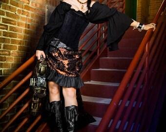 Steampunk Skirt, Copper and Black, Steampunk, Renaissance, Cosplay, Ruffle Skirt, Hi-Low, Medieval, Victorian, Western, Dustpunk