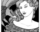 The Hawkmistress, original ink illustraton