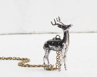 DEER  NECKLACE Vintage Style Silver Reindeer Stag Pendant Antlers Forest Creature Winter