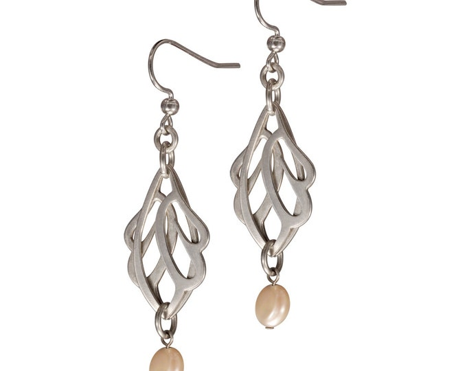 Sterling Silver Butterfly Wings Earrings with a Pearl