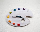 Artist Palette Clock, 3D Paint on Wood - BRIGHTS,  Left or Right Handed - Wall or Desk Clock option -  art studio decor, artist painter gift