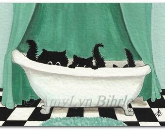 Three Black Cats - Home Decor Bathroom Art Prints by Bihrle ck353