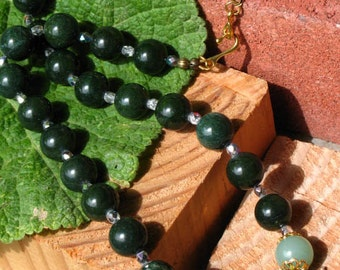 Prosperity and Health GREEN QUARTZ and AVENTURINE Large Bead Necklace