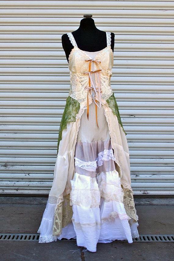 Upcycled Wedding Dress Tattered Bohemian MORI Girl By