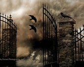 Surreal Gothic Photography, Ravens Crows Sepia Art, Eerie Gate Ravens,Haunting Spooky Halloween Photography, Dark Surreal Spooky Photography