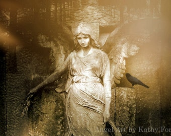 Angel Photography, Gothic Angel Prints, Angel With Raven, Haunting Surreal Angel Wall Art Prints, Gothic Angel and Raven, Cemetery Angel Art