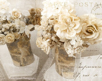 Shabby Chic Photography Floral Art, Still Life Flower Photography, Paris White Roses Art, Romantic Impressionistic Autumn Fall Flower Prints