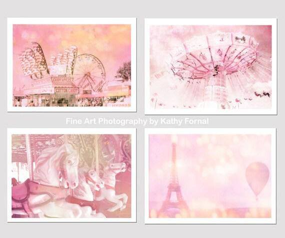 Pink Carnival Prints, Baby Girl Nursery Decor, Paris Carousel Carnival, Paris Pink Balloons Ferris Wheel Carnival Prints, Paris Girls Room
