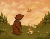 A Little Bird Told Me Print 10x8 - Children's Art, Nursery Art, Baby, Cute, Bear, Bunny, Forest, Pink, Kids Art, Pale Yellow, Cream, Pink