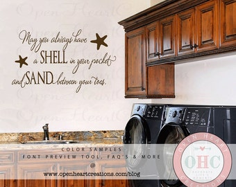 Beach Wall Decal Etsy - Wall decals beach quotes