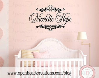 "Baby Name Wall Decal - Personalized Name Monogram Vinyl Wall Sticker -  Shabby Chic Heart Accents 22H x 36"" FN0190"