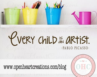 Children Art Display Wall Decals - Every Child is an Artist - Picture and Art Wall 8H X 36W Qt0292