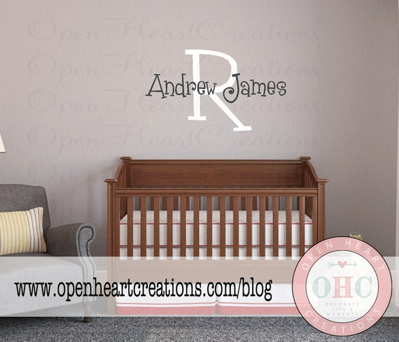 Large Initial and Name Monogram Wall Decal - Personalized Vinyl Wall Stickers - Baby Nursery Girl Boy Teen Cute Fun Decor IN0035