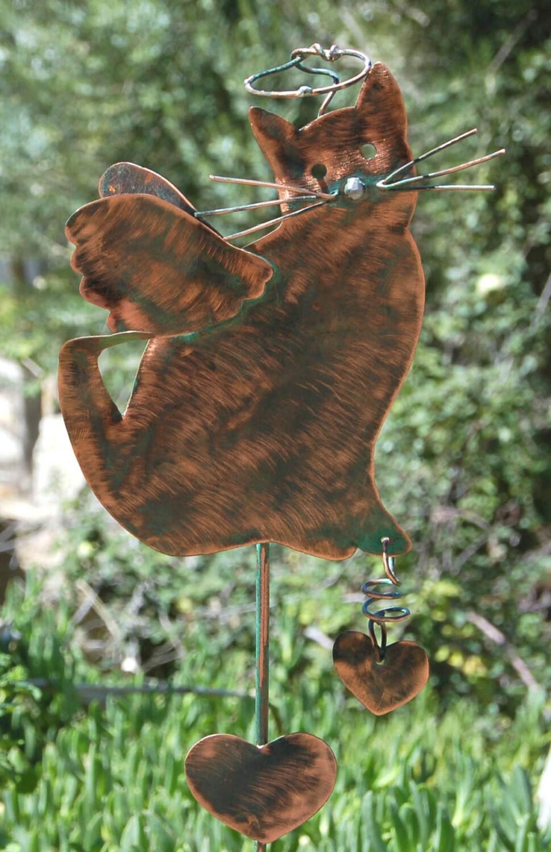 Cat pet memorial angel metal plant stake metal yard art garden for Cat yard art