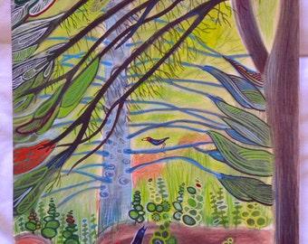 Under the great pine - Original watercolour on 100% cotton hotpress watercolour paper
