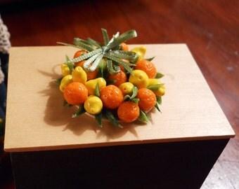 1/12 Scale (Dollhouse) Autumn Holiday - Halloween - Thanksgiving Oranges and Lemons Centerpiece Wreath - Indoor Fairy Garden