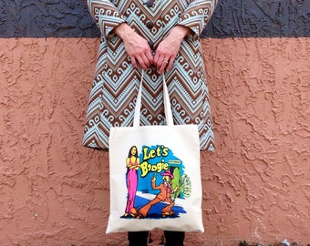 Vintage Transfer Canvas Tote Bag - Let's Boogie