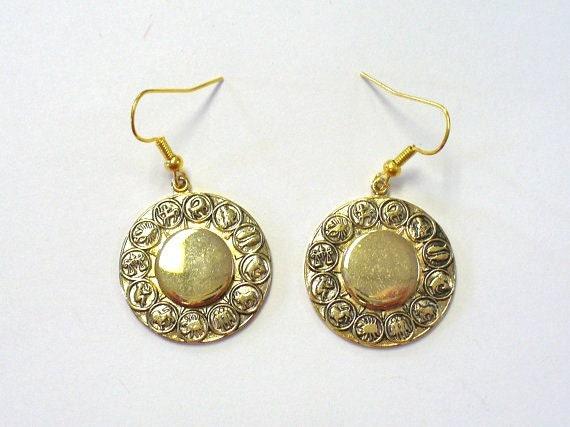 Vintage 60s Zodiac Earrings DEADSTOCK