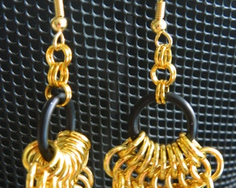 Mermaid's Tail Earrings in Gold and Black