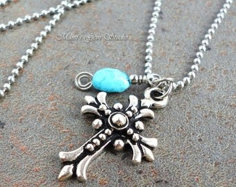 Floral Cross & Sleeping Beauty Turquoise Charm Necklace, Cross Pendant, Stainless Steel Chain