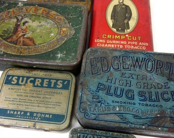 FINAL SALE / Collection of Six Vintage Tobacco Medicine Tins / Industrial, Rustic, Storage, Set Prop, Display