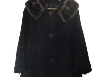 Vintage Black  Faux Fur Trapeze Coat Faux Persian Lamb Coat Vintage Faux Fur Coat Faux Persian Lamb Fur Coat Vintage Lamb Coat Trapeze Coats