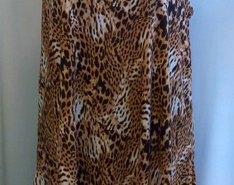 Coco and Juan, Lagenlook, Plus Size Tunic, Brown, Leopard Print, Traveler Knit, Angled Women's Tank Top Size 1 Fits 1X,2X Bust  to 50 inches