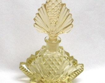 Czech  Perfume Bottle Yellow Cut Crystal  with Original Stickers