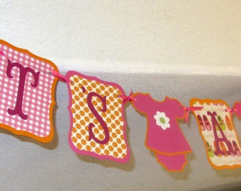 Customizable Baby Shower Banner -  ITS A GIRL Paper Garland, party, decoration, swag bunting custom