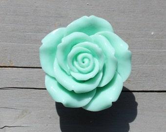 Mint Flower Drawer Knobs - Mint Cabinet Knobs Rose (RFK14-07)