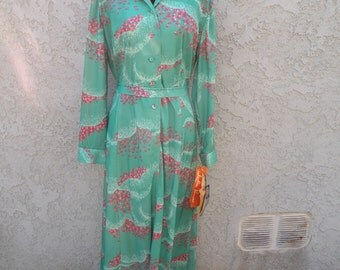 1970s Vintage New Old Stock NWT Green and Pink Maxi Dress (Large)