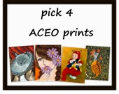 pick 4 ACEO prints - great for art collection small size art print