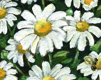 "flower painting  ""Little White Daisies And A Bee""  daisy painting bee spring art nature, A4 print, 6x8 print 8x10"