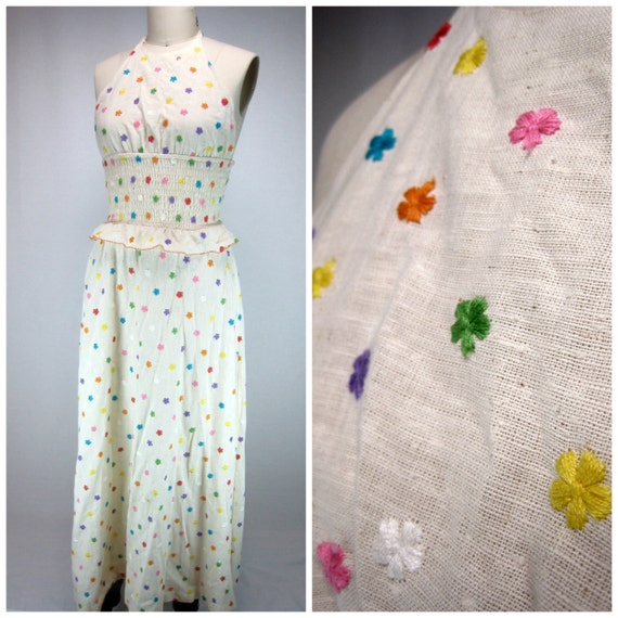 Linen Embroidered Maxi Dress - Authentic Vintage