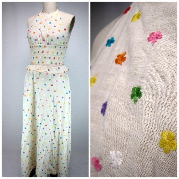 70s Maxi Dress / 1970s Boho Dress / Vintage Maxi Dress / Hippie Style Dress / Embroidered Dress / Halter Dress