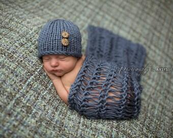 Newborn Photo Prop, Newborn Wrap Set, Newborn Hat Boy, Newborn Hat Girl, Newborn Wrap Photo Prop, Newborn Props, Newborn Boy Props